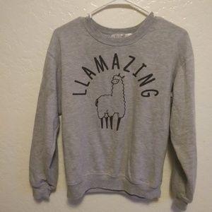 "Gray ""LLAMAZING"" graphic Llama sweatshirt SO CUTE!"